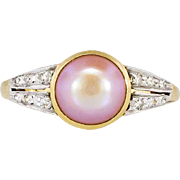 Edwardian 1920's Lustrous Pink Pearl & Old Cut Diamond Ring 18k/Platinum