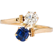 Exquisite 1ct t.w. Victorian Natural Sapphire & Old Mine Cut Diamond Bypass Ring 18k Rose ...