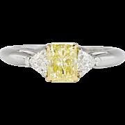 Estate 1.49ct t.w. Fancy Yellow Canary Diamond & Trillion Cut Diamond Three Stone Ring ...