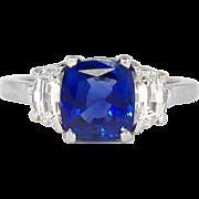 Extraordinary Estate 3.03ct t.w. Cushion Sapphire & Cadillac Diamond Three Stone Ring Platinum
