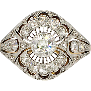 Rare Russian Antique 1.41ct t.w. 1900's Lacey Old European Cut Diamond Ring 18k Sterling Silver