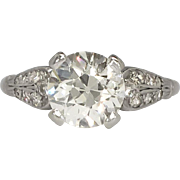 Vintage Edwardian 1920's 1.92ct t.w. Old European Cut Diamond Engagement Ring Platinum