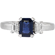 Estate 1.10ct t.w. Emerald Cut Blue Sapphire & Diamond Three Stone Ring 18k