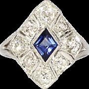 Estate 2.21ct t.w. Sapphire & Old Mine Cut Diamond Art Deco Style Ring 14k
