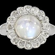 Magical 1930's 3.66ct t.w. Moonstone & Old Mine Cut Diamond Halo Ring 18k