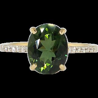 SALE Estate 2.87ct t.w. Rich Oval Green Tourmaline & Diamond Ring 18k