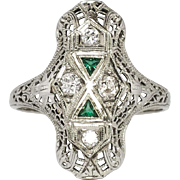 Rare 1930's Art Deco Old European Cut Diamond & Green Emerald Glass Filigree Ring 18k