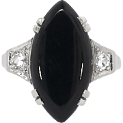 Fun Art Deco 1930's Marquise Onyx .20ct t.w. Old Diamond Ring Platinum