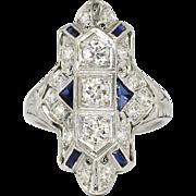 Art Deco 1.09ct t.w. Diamonds & Sapphires Navette Platinum Ring