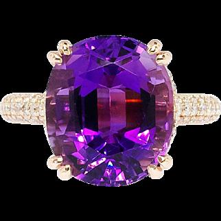 SALE Estate 8.75ct t.w. Amethyst & Pave' Diamond Ring 14k Rose Gold