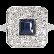 Art Deco 1930's 2.30ct t.w. Sapphire & Diamond Halo FIligree Platinum Ring