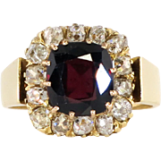 Victorian 1860's Antique 3.70ct t.w. Garnet & Old Mine Cut Diamond Halo Ring 18k