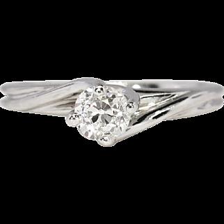 SALE Vintage Estate .25ct Old European Cut Diamond 14k White Gold Solitaire Engagement Ring