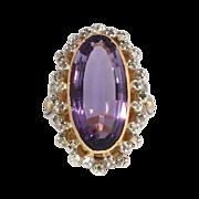 Rare Huge Victorian Revival Amethyst & Rose Cut Diamond Ring 14k/SS