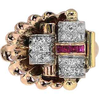 SALE Enormous 1940's Ruby & Diamond Shell Cocktail Ring 16k/Plat