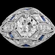 Authentic Intricate Art Deco Old European Cut Diamond Engagement Ring Platinum