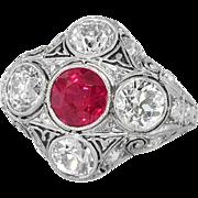 Magnificent Edwardian Diamond & Lab Ruby Filigree Engraved Ring Platinum