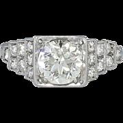 Elegant Art Deco 1.50ctw Old European Cut Diamond Engagement Ring Platinum