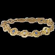 Beautiful Art Nouveau Rare Sapphire & Diamond Bracelet 14k
