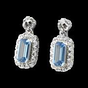 Perfect 5.80ct t.w. Retro Blue Topaz & Diamond Wedding Drop Earrings 14k