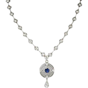 Beautiful 1930's 1.62ct t.w. Old European Cut Diamond Lab Sapphire Necklace 18k/SS