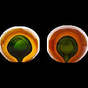 SOLD Rare Pair Murano Glass Bookends  Alfredo Barbini Amber Green Interior 3.5 lbs ea