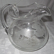 "Hand-Blow, Etched Glass Pitcher, ""Garden House"""