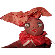 "Early 10"" Red and Beige Silk stockinett Rag Doll"