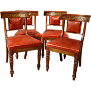 SOLD Antique Dining Chairs Leather Seat Quality English Regency Brass Inlaid c1880