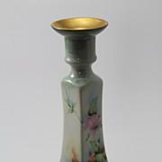 Rose Candlestick Candle Holder Hand Painted Artist Signed Bernardaud & Co Limoges Porcelain