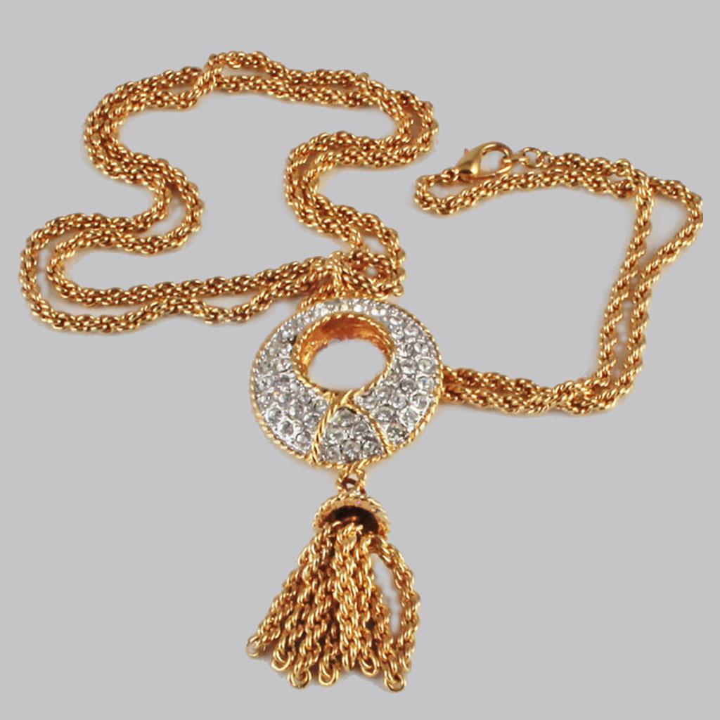 nolan miller pave rhinestone tassel dynasty necklace from