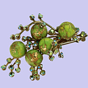 Holiday Spruce Green Gilt AB Brooch Pin c 1950