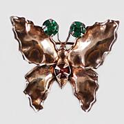 1940's Sterling Vermeil Red Green Rhinestone Brooch / Pin