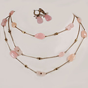Rare 1930's  Monet Pink Jade 3 - Strand Necklace Earrings Signed