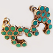 Old Pawn Naja Inlaid Turquoise Sterling Screw Back Earrings c1930