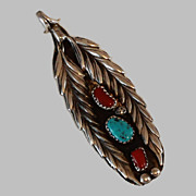 Native American Turquoise Coral Sterling Pendant c1940's