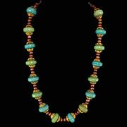 Austro - Hungarian Glass Wood Bead Gilt Filigree Necklace c1940's
