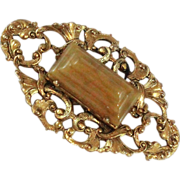 Art Nouveau Style 22K GP Glass Agate Freirich Brooch Pin c1970s