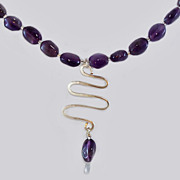 Modernist Amethyst Beads Sterling Silver Necklace Pendant c1980