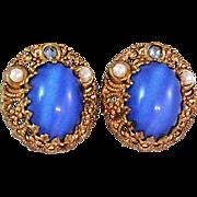 W Germany Blue Glass Rhinestone Faux Pearl Clip Earrings c1960's
