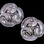 Retired Oscar de la Renta Pewter Knot Clip Earrings c1970s
