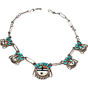 Zuni Sun God Necklace Inlaid Turquoise Coral MOP Jet Paperclip Chain Sterling Silver c1950s