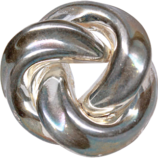 Large Signed  Love Knot Sterling Silver Brooch Pin c1980s