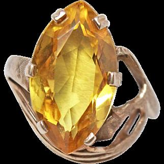 8+  Carat Yellow Sapphire 14K Gold Size 6 Ring c1950s