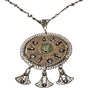 Carved Natural Zoisite  Egyptian Revival Sterling Silver Filigree Necklace c1930s