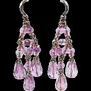 X Long Chandelier Amethyst Sterling Silver French Wire Earrings c1970s