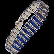 Inlaid Lapis Lazuli Sterling Silver Link Bracelet c1970s