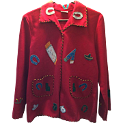 1940's Red Mexican souvenir jacket!