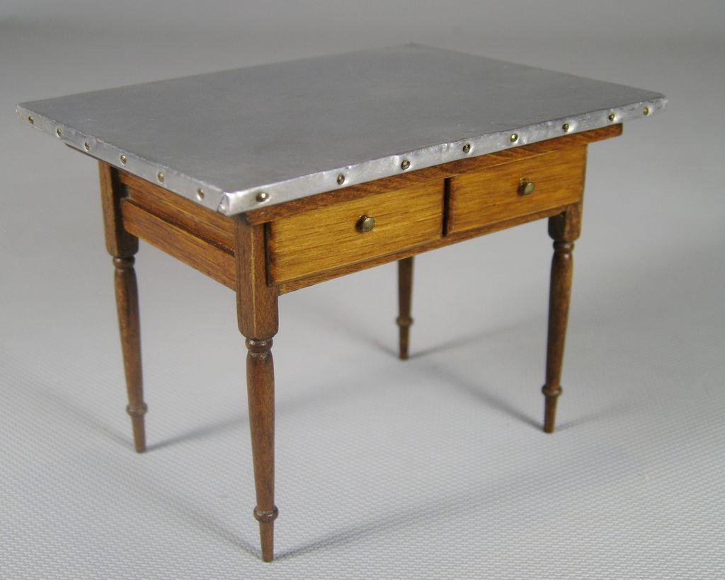 dollhouse miniature wood kitchen work table w metal top
