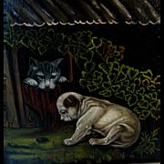 English Bull Dog & Cat Original Antique Folk Art Oil Primitive Painting on Russell Canvas, ...
